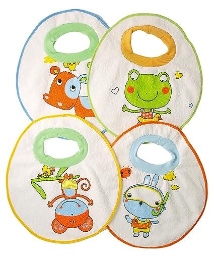 Ti TIN Pack 4 Baberos Impermeables para Bebé/Toalla de Rizo Forrado con Plástico 90