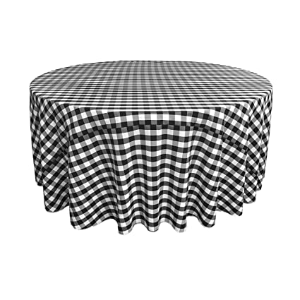 Amazoncom La Linen Poly Checkered Round Tablecloth 120 Inch
