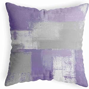 LucaSng Abstract Purple Throw Pillow Cover 18X18 for Bedroom,Grey Pillow Cover for Living Room,Square Couch Pillow Cover for Bed Sofa,Soft Decorative Art Pillow Cushion Cover Case for Dorm Home Decor