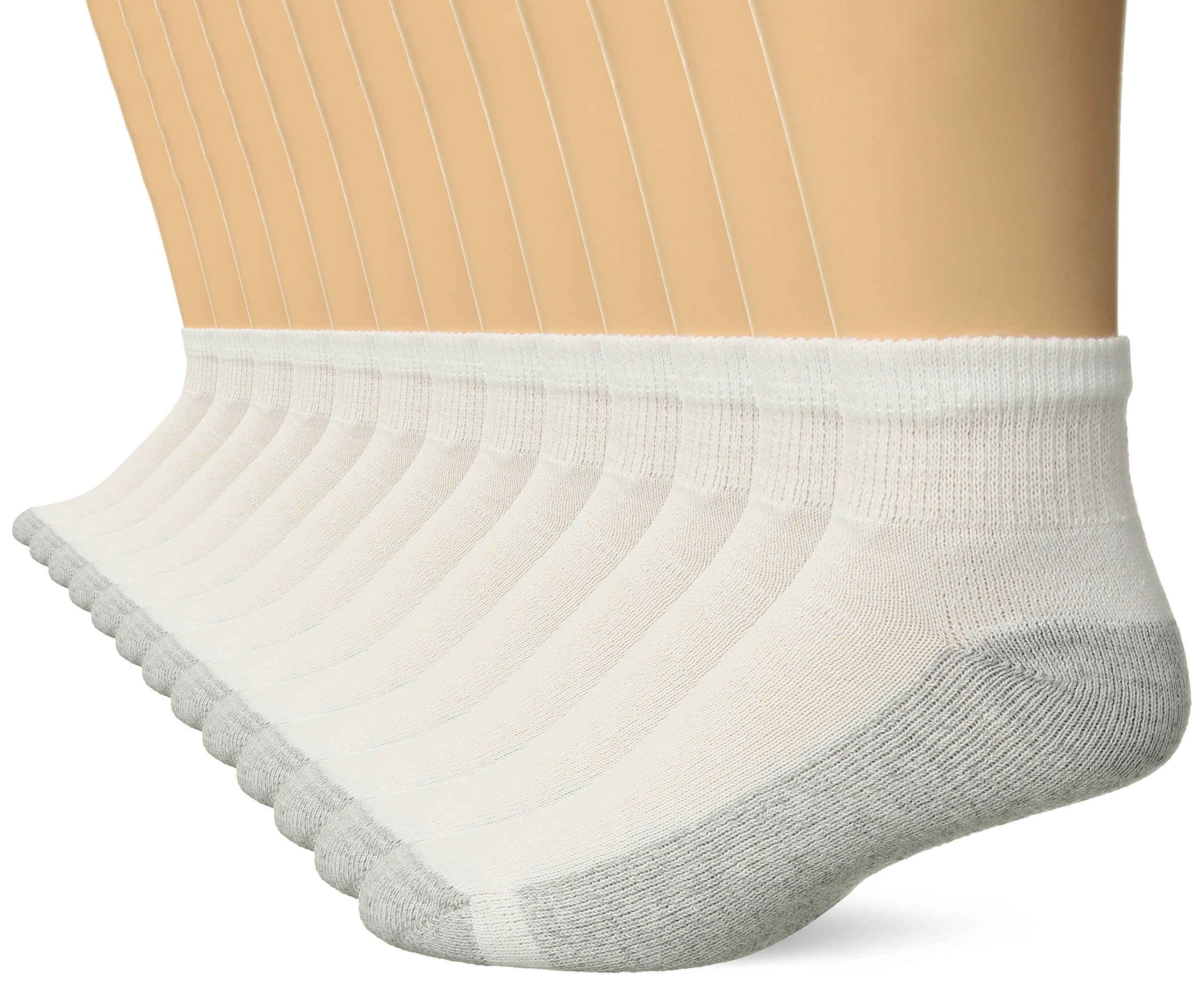 Hanes Men's Freshiq Ankle Socks 13 Pack (Includes 1 Free Bonus Pair), White, 10-13 (Shoe Size: 6-12)