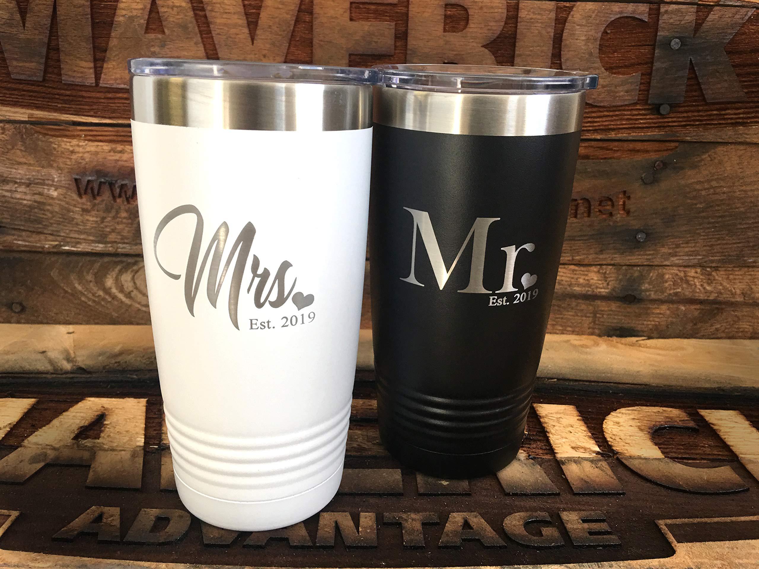 Set of 2-20oz Insulated''MR. & Mrs.'' Travel Mug l Wedding Gift l Laser Engraved l Powder Coated by Maverick Advantage