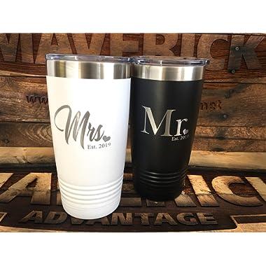 Set of 2-20oz Insulated MR. & Mrs.  Travel Mug l Wedding Gift l Laser Engraved l Powder Coated
