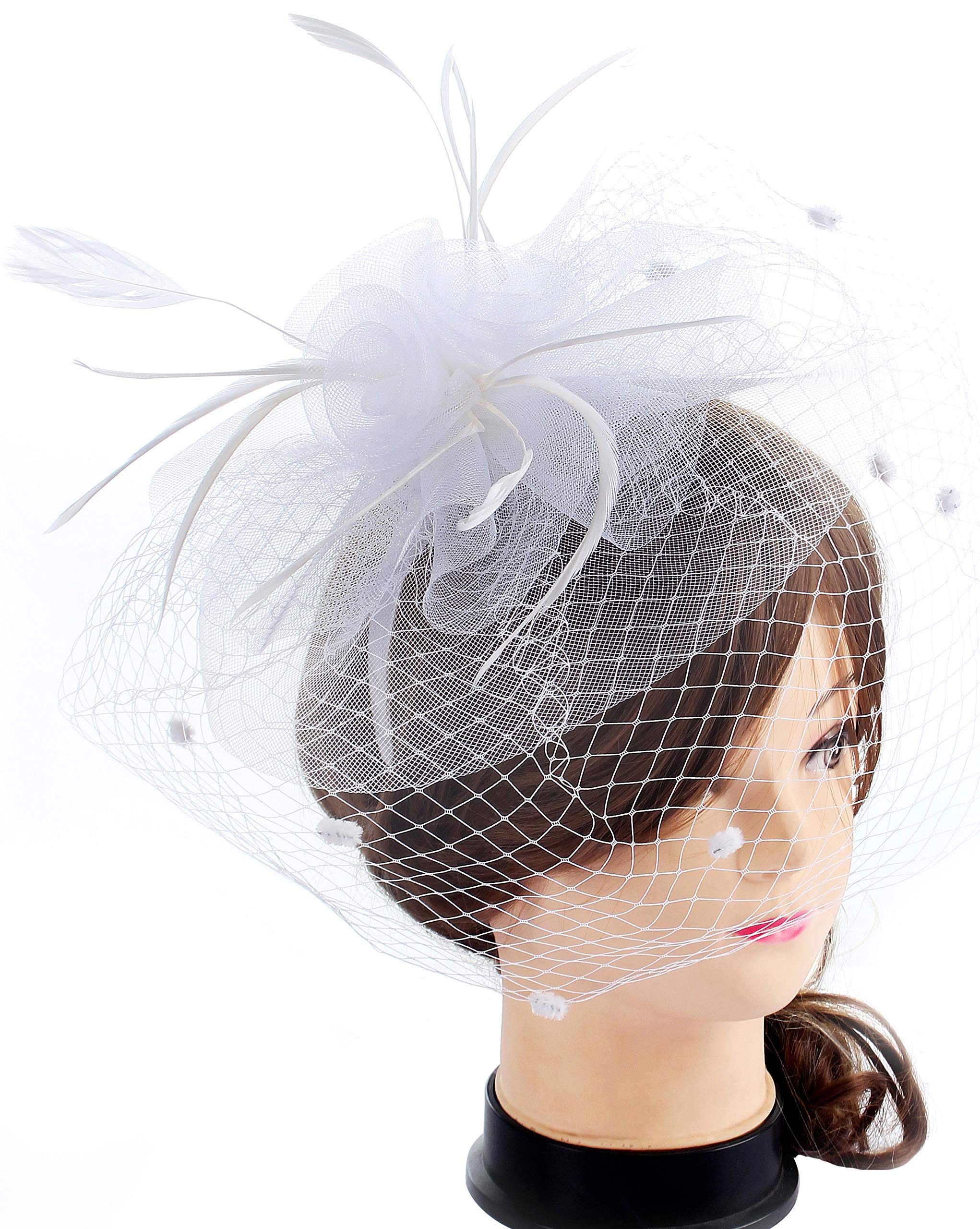Myjoyday Fascinators Hat for Women Tea Party Headband Kentucky Derby Wedding Cocktail Flower Mesh Feathers Hair Clip (White)