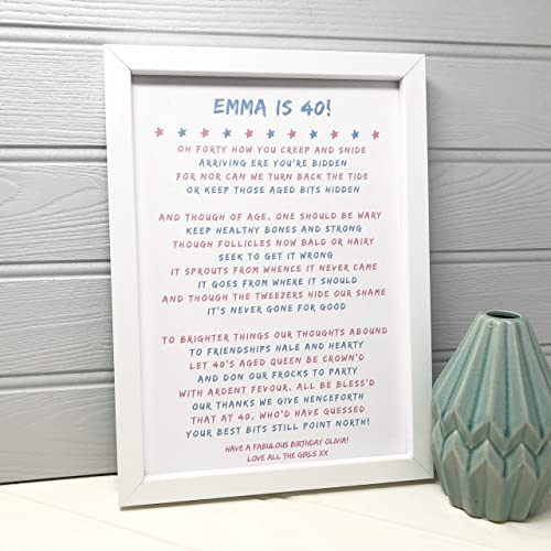Personalised 40th Birthday Poem Print Gift For Women 40 Present Her Best Friend From The
