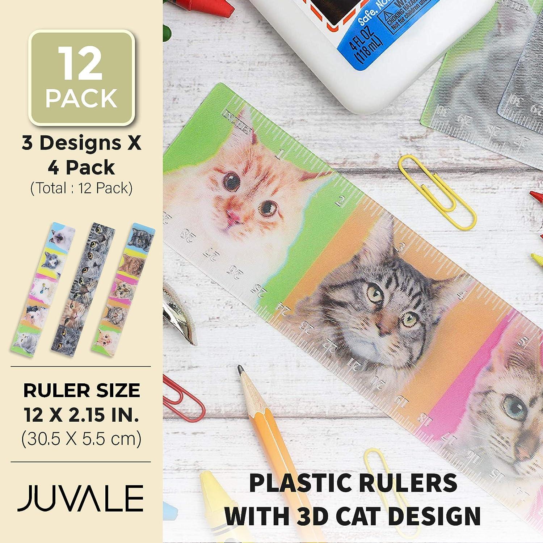 Juvale Reglas de plástico con diseño de gato 3D (12 pulgadas, diseños surtidos, 12 unidades): Amazon.es: Bricolaje y herramientas