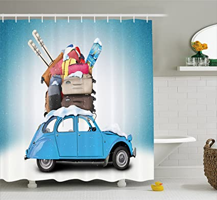 Ambesonne Winter Shower Curtain Traveling Themed Snowy Image Ski Baggage Items Blue Vintage Car Holiday
