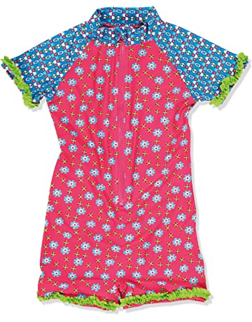 e5f7527e33 Playshoes Girl's UV Sun Protection All-in-One Flowers Swimsuit