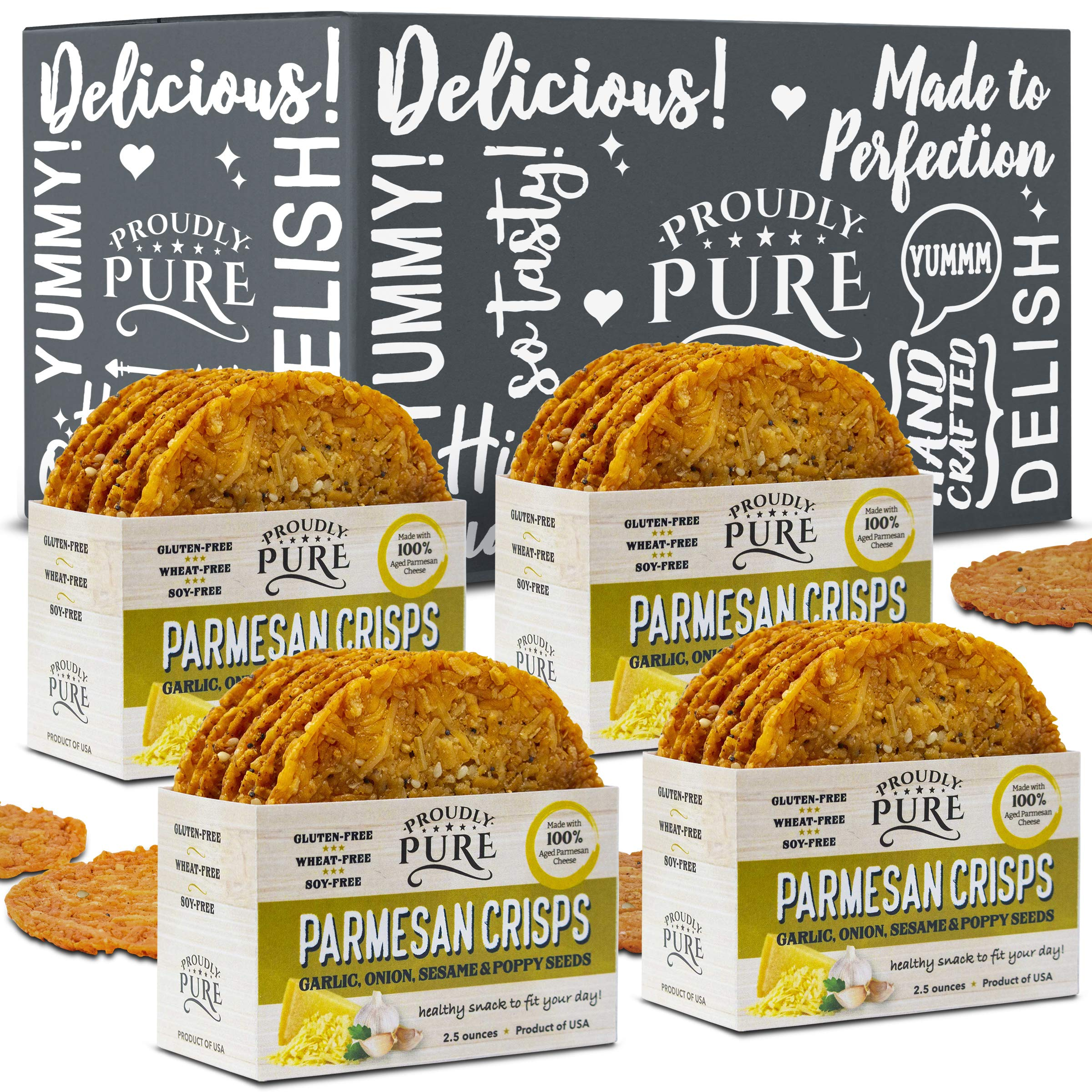 Proudly Pure Parmesan Cheese Crisps - Keto Snacks Zero Carb Crunchy Delicious Healthy 100% Natural Aged Cheesy Parm Chips Wheat, Soy & Gluten Free Keto Crackers Low Carb Snack | Onion/Poppy/Garlic 4PK by PROUDLY PURE