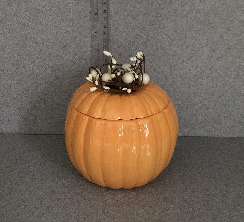 Ceramic Medium Orange Pumpkin Candy jar, Thanksgiving, Autumn, and Fall decoration