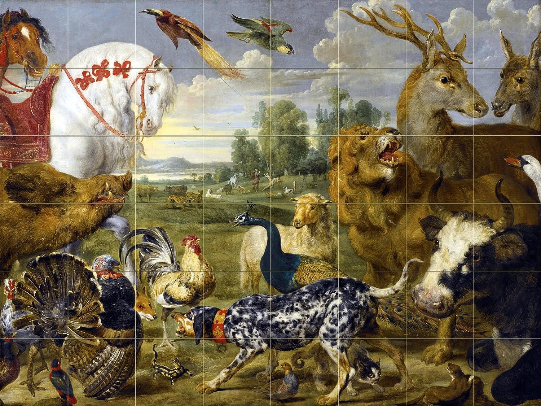 garden of eden animals p de vos tile mural wall backsplash art