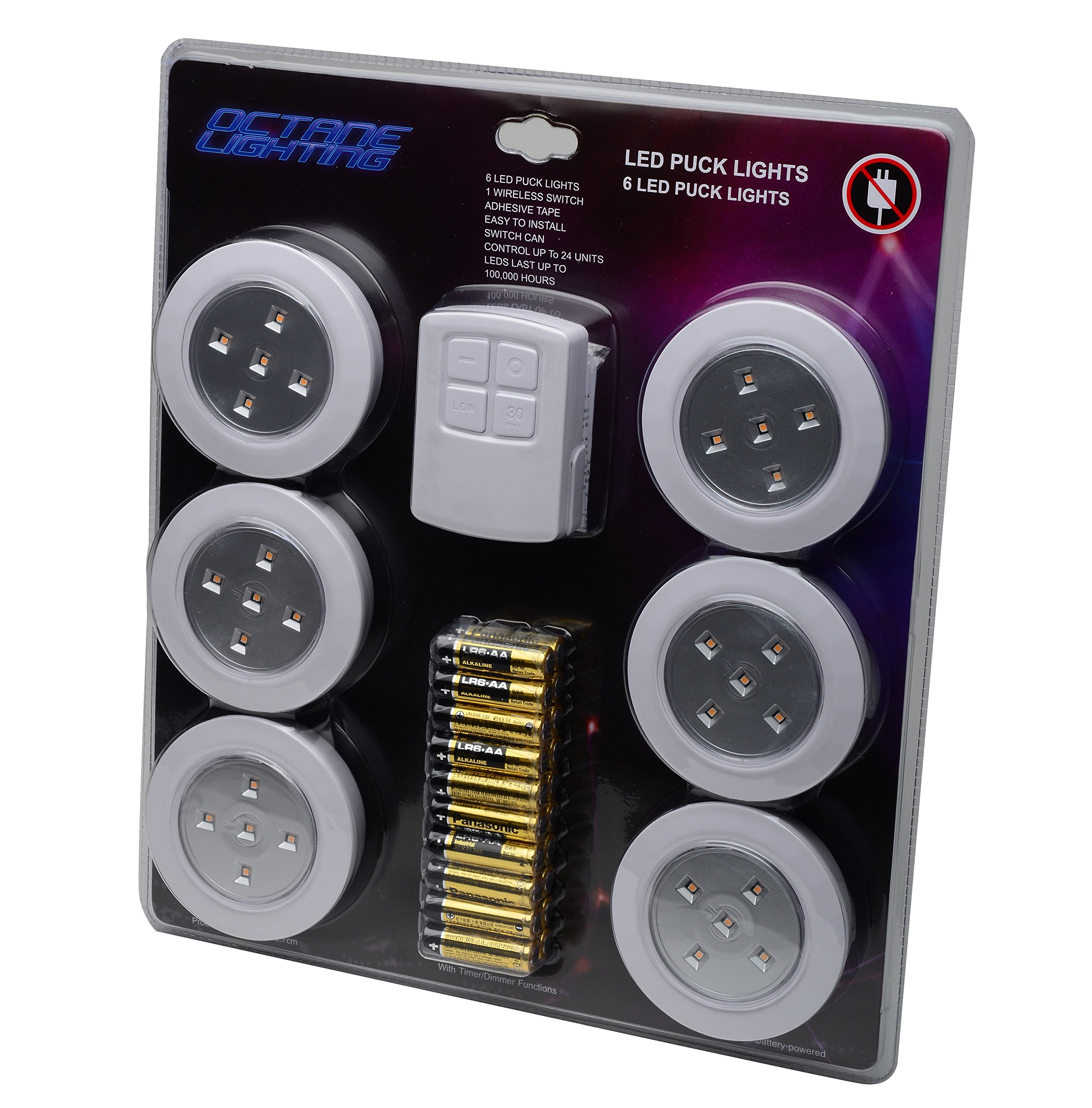 Home 4'' Kitchen Closet Under Cabinet LED Wireless Puck Lighting Lites Lights w/ Remote & Batteries - (6 Pack) By Octane Lighting