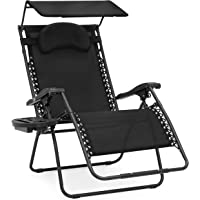 Best Choice Products Oversized Zero Gravity Patio Chairs with Adjustable Sunshade & Drink Tray (Black)