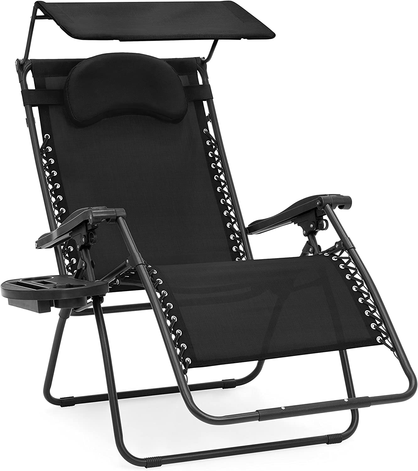 Best Choice Products Oversized Steel Mesh Zero Gravity Reclining Lounge Patio Chair w/Folding Canopy Shade and Cup Holder, Black