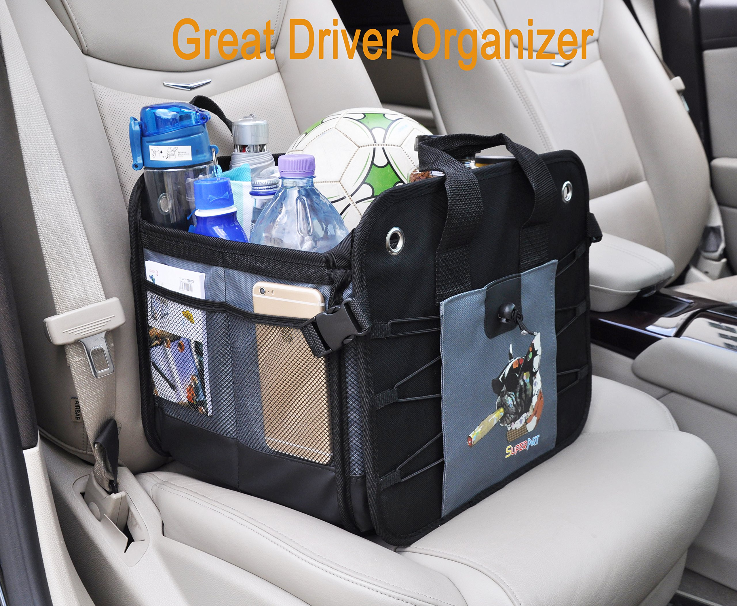 Car Trunk Organizer Heavy Duty Collapsible / Foldable Shopping Tidy Cargo Storage Boxes BAG BIN For Auto Car, SUV, Truck, Home (59 x 37 x 32cm)