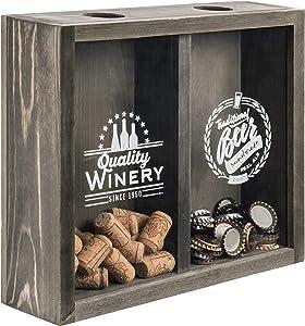 MyGift Wall Mounted Grey Wood Beer Cap/Wine Cork Holder Shadow Box