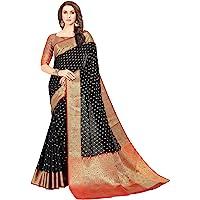 Soru Fashion Women's Banarasi Silk Kanjivaram Art Silk Booti Jacquard Saree With Blouse Piece