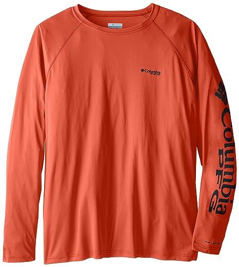 1fcfa09d Columbia Men's PFG Terminal Tackle Long Sleeve Tee - Tall, Bright Peach,  Grill Logo