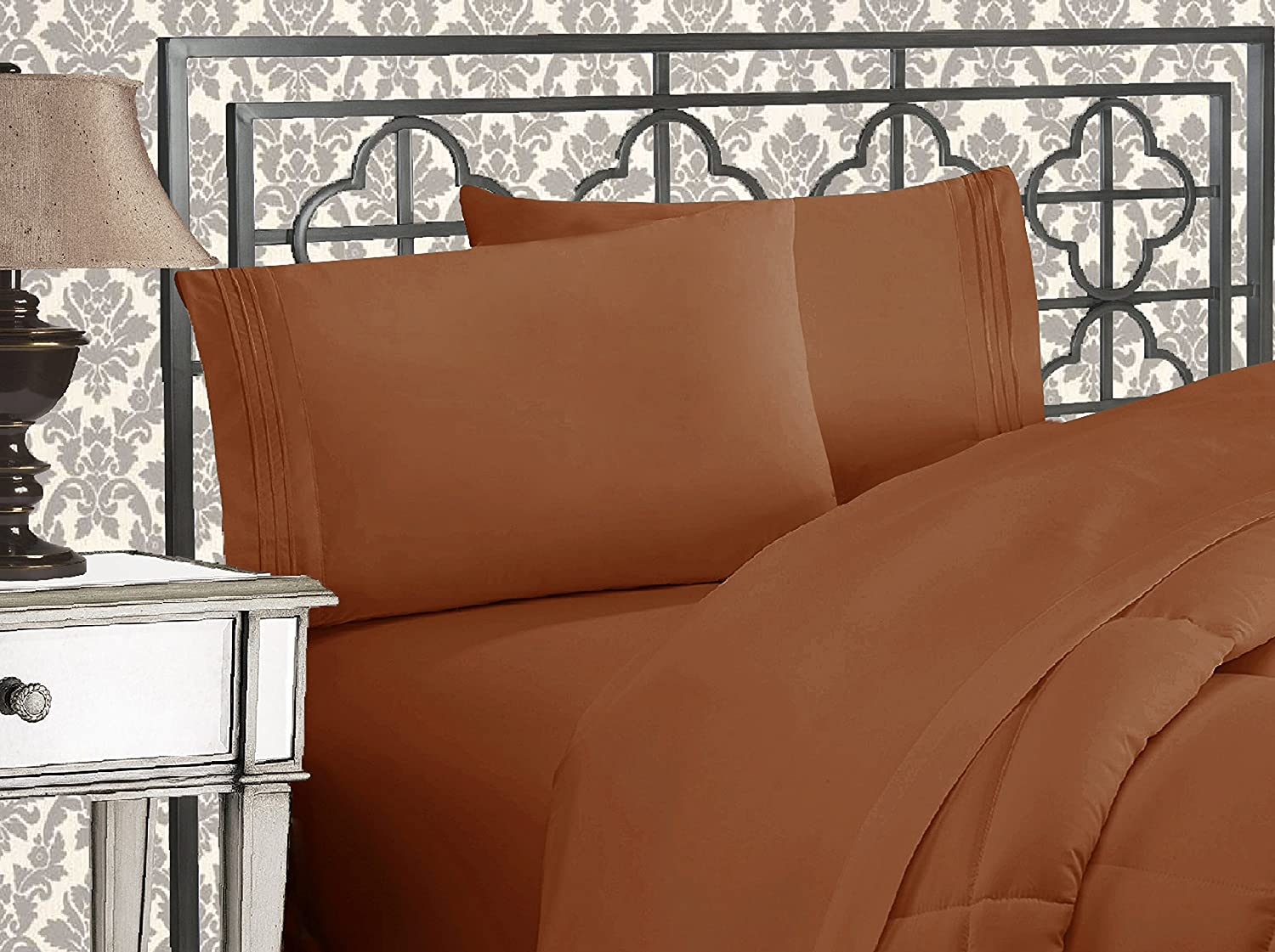 Elegant Comfort 81RW-3Line-FU-Bronze Luxurious 1500 Thread Count Egyptian Three Line Embroidered Softest Premium Hotel Quality 4-Piece Bed Sheet Set, Full, Bronze