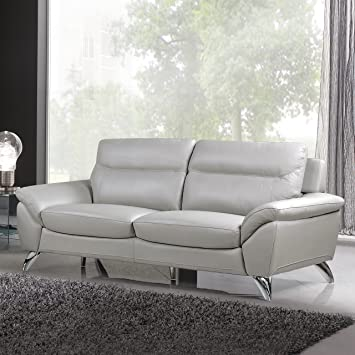 Cortesi Home Contemporary Monaco Genuine Leather Sofa, Light Grey 78u0026quot;