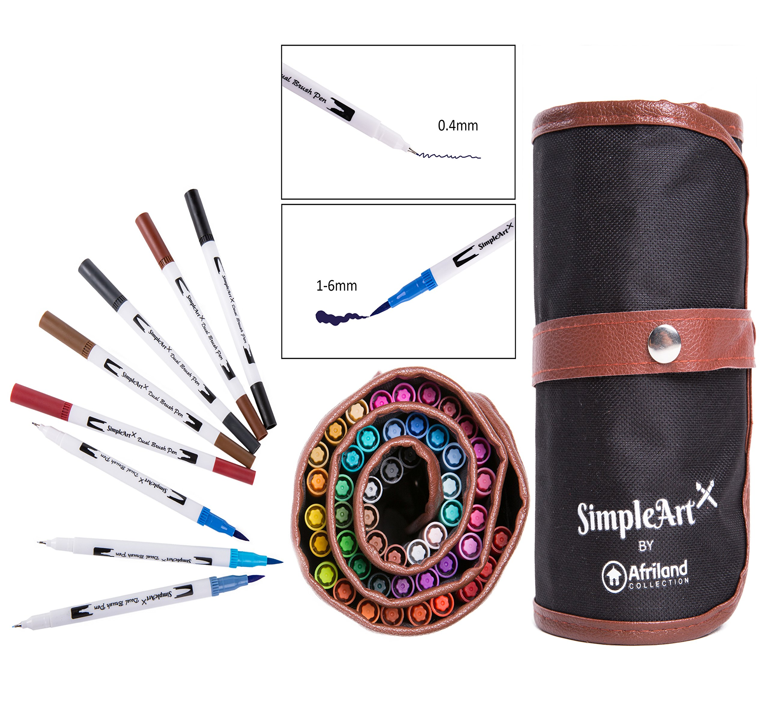 SimpleArt Brush Pens and Dual Tip Color Art Markers- Watercolor Fine Point and Fiber Brush Tip Fineliner Pens- Safe Non-toxic Water Based For Kids and Adult Coloring- 48 Unique Colors in Canvas Bag