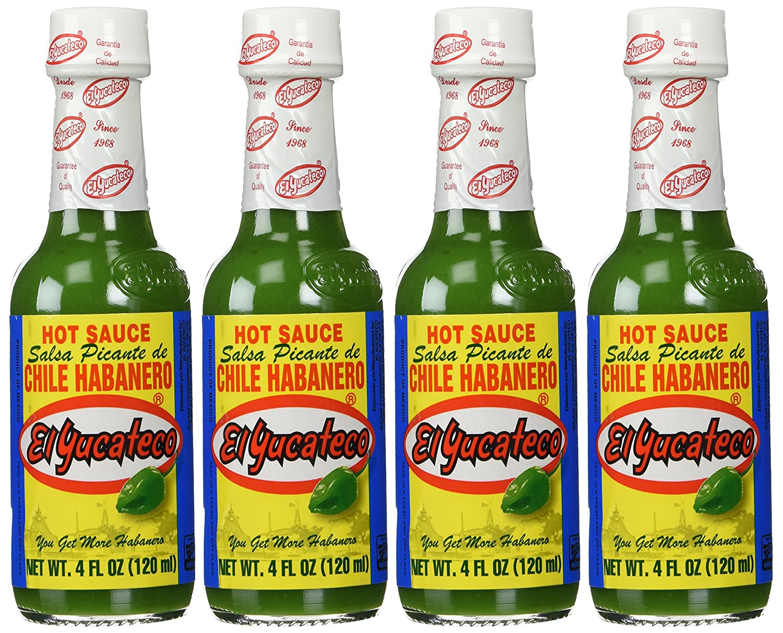 El Yucateco Sauce Habanero Green Hot - 4 Ounce (Pack of 4)