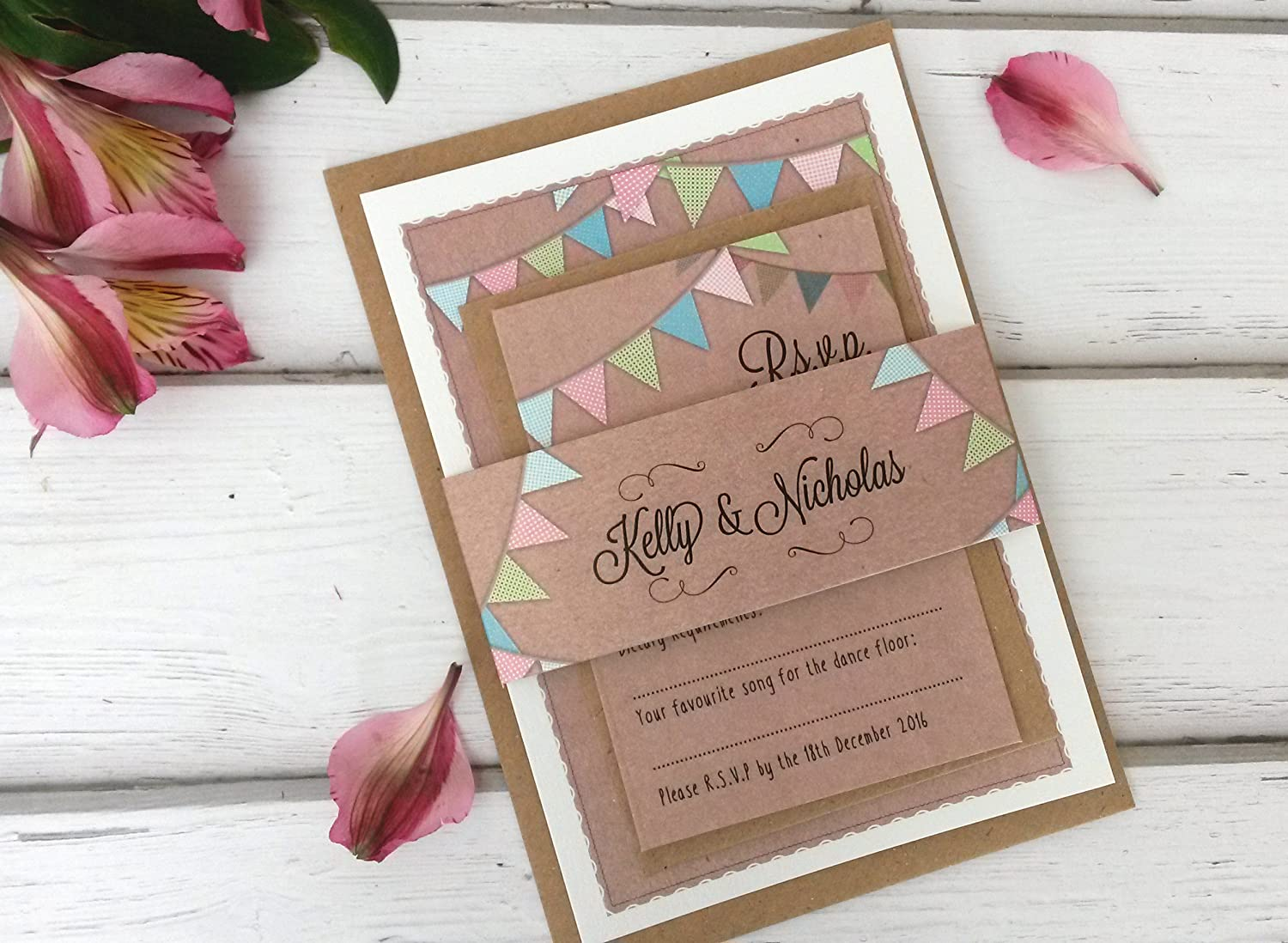 Personalised Wedding Invitations With RSVP Card, Sleeve ...