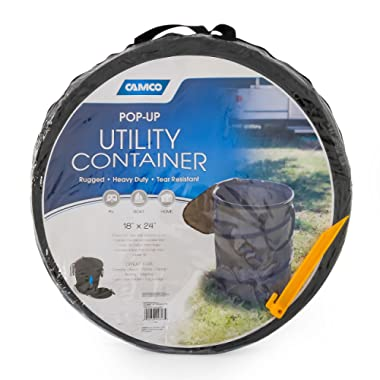 Camco Large Pop-Up Utility Container with and Zip to Close Lid - Holds 33 Gallons- Simple Setup and Easy Storage, Great Reusable Trash Bag, Perfect for Camping, Cookouts, and Outdoor Events (42893)