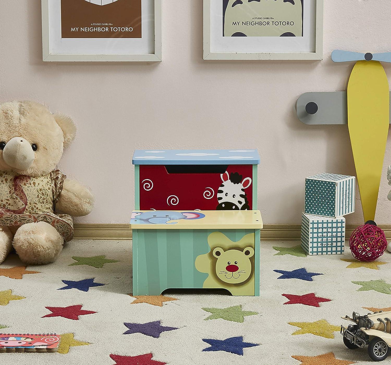 Tragbare /& leichte Double Step Hocker f/ür Kleinkinder Kinder Kinder Jungen M/ädchen Kindertritthocker mit Aufbewahrung WODNEY Tritthocker aus Holz f/ür Kinder Blau
