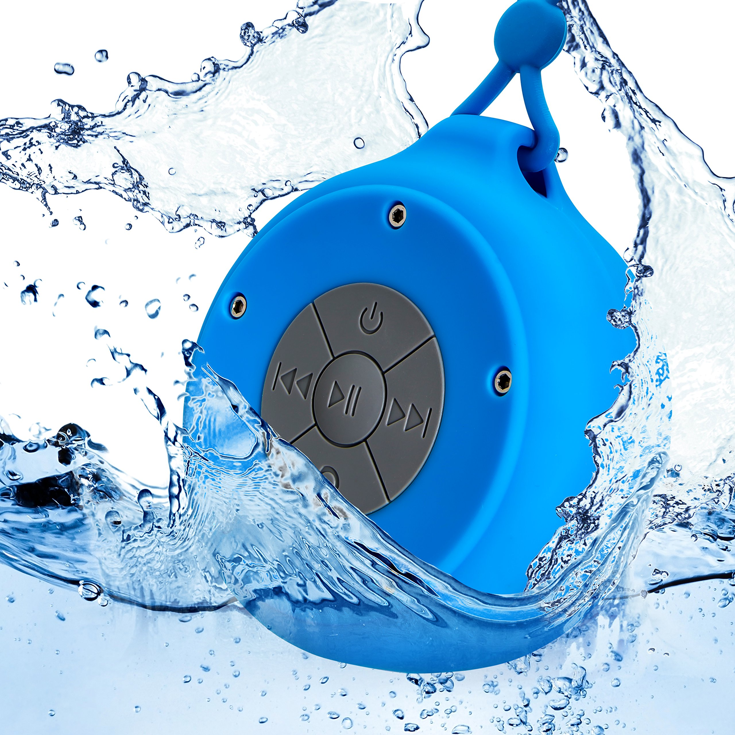 Best Quality Mini Waterproof Hanging Shower Speaker, Durable, Rugged & Portable Small Wireless Bluetooth Player Box Suction Hanger for Bathtub, Pool, Outdoor Camping , Backpacking, Tailgating (Blue) by Trendsettings