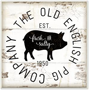 Stupell Industries Old English Pig Co Vintage Sign Wall Plaque, 12 x 12, Multi-Color