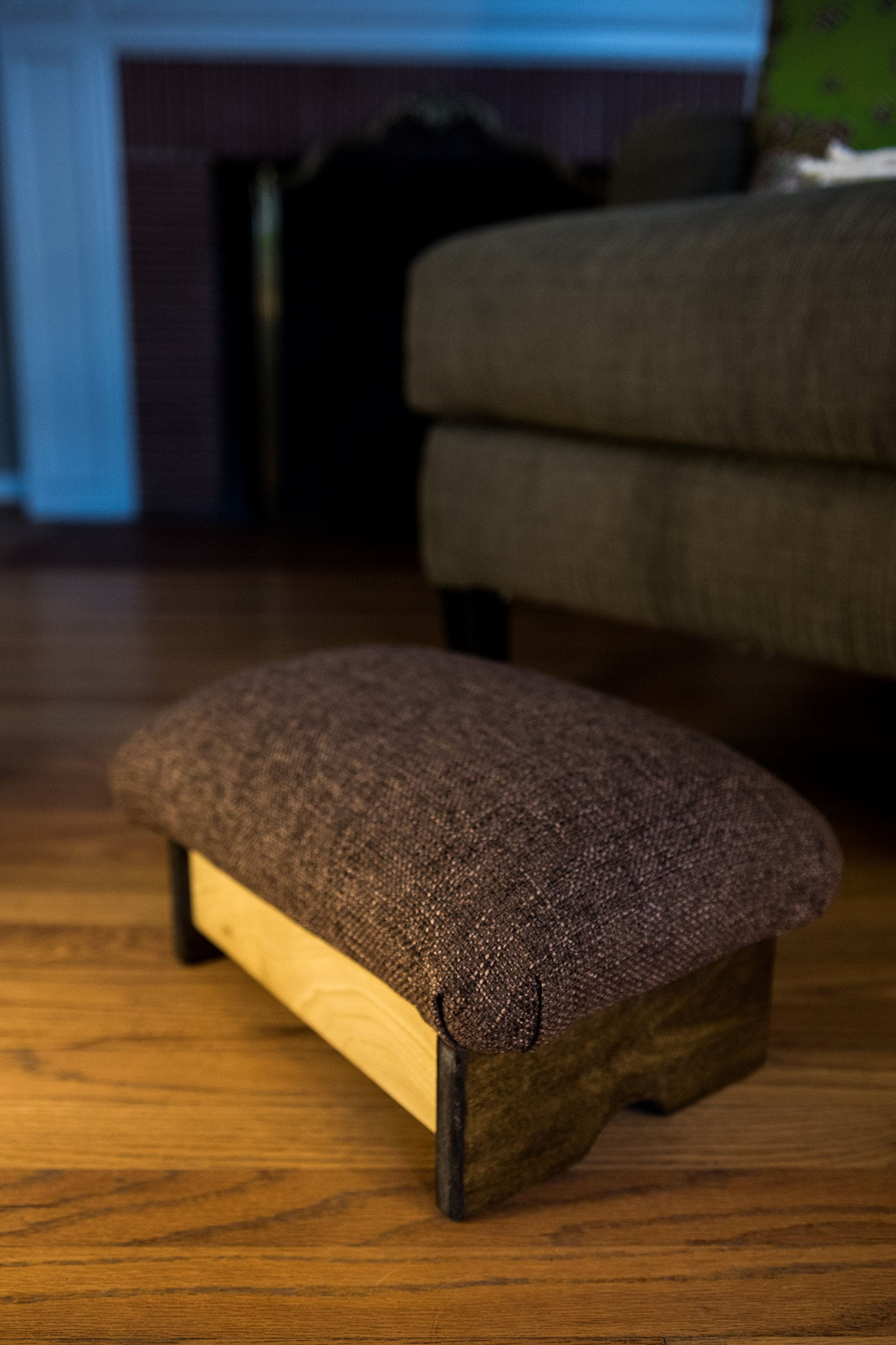 Padded Foot Stool, Solid Fabrics: Cocoa Brown, 7'' Tall, Chic Frame (Made in the USA)