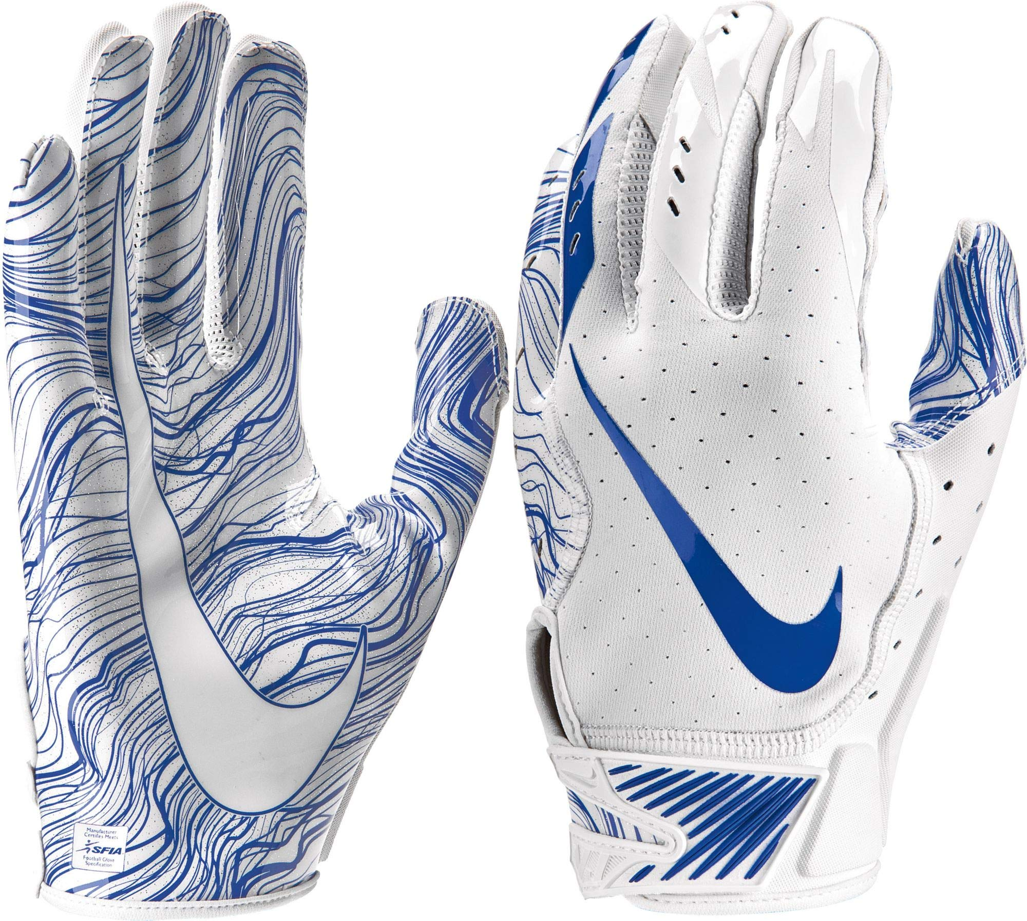 Nike Adult Vapor Jet 5.0 Receiver Gloves 2018 (White/Royal, Small)