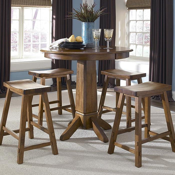 Liberty Furniture Industries Creations II 5 Piece Pub Set, W36 x D36 x H36, Medium Brown