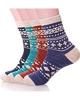 SDBING Women's 4 Pair Pack Soft Comfortable Warm Vintage Style Cotton Crew Socks