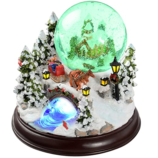 werchristmas 30 cm santa scene musical animated snow globe christmas decoration - Musical Animated Christmas Decorations