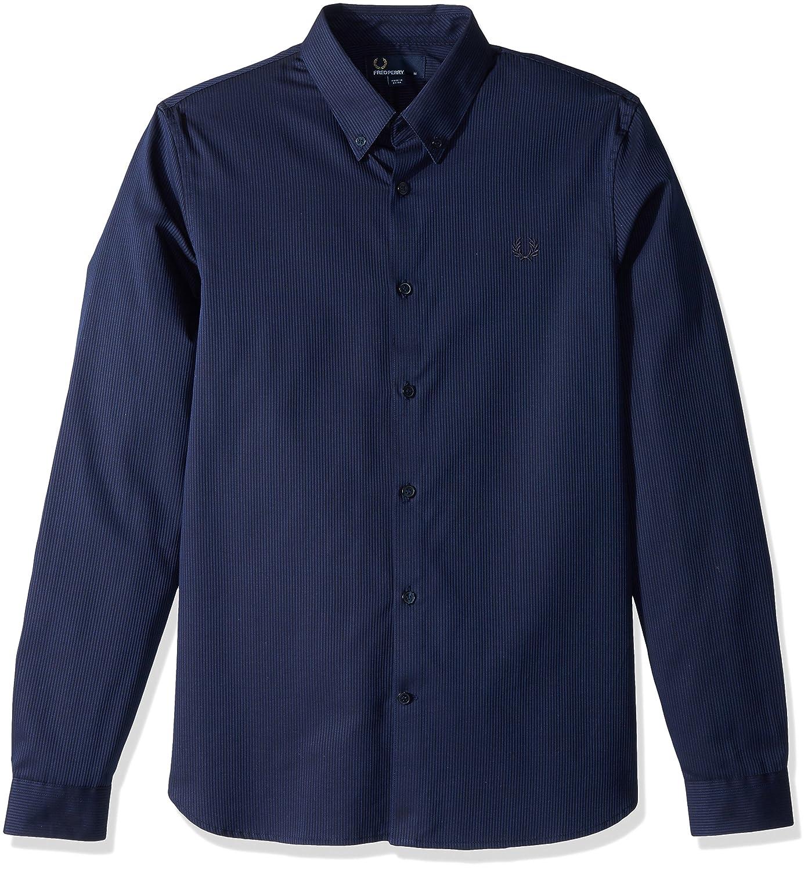 Fred Perry Hombres Camisa a Rayas con Textura Marina de Guerra M ...