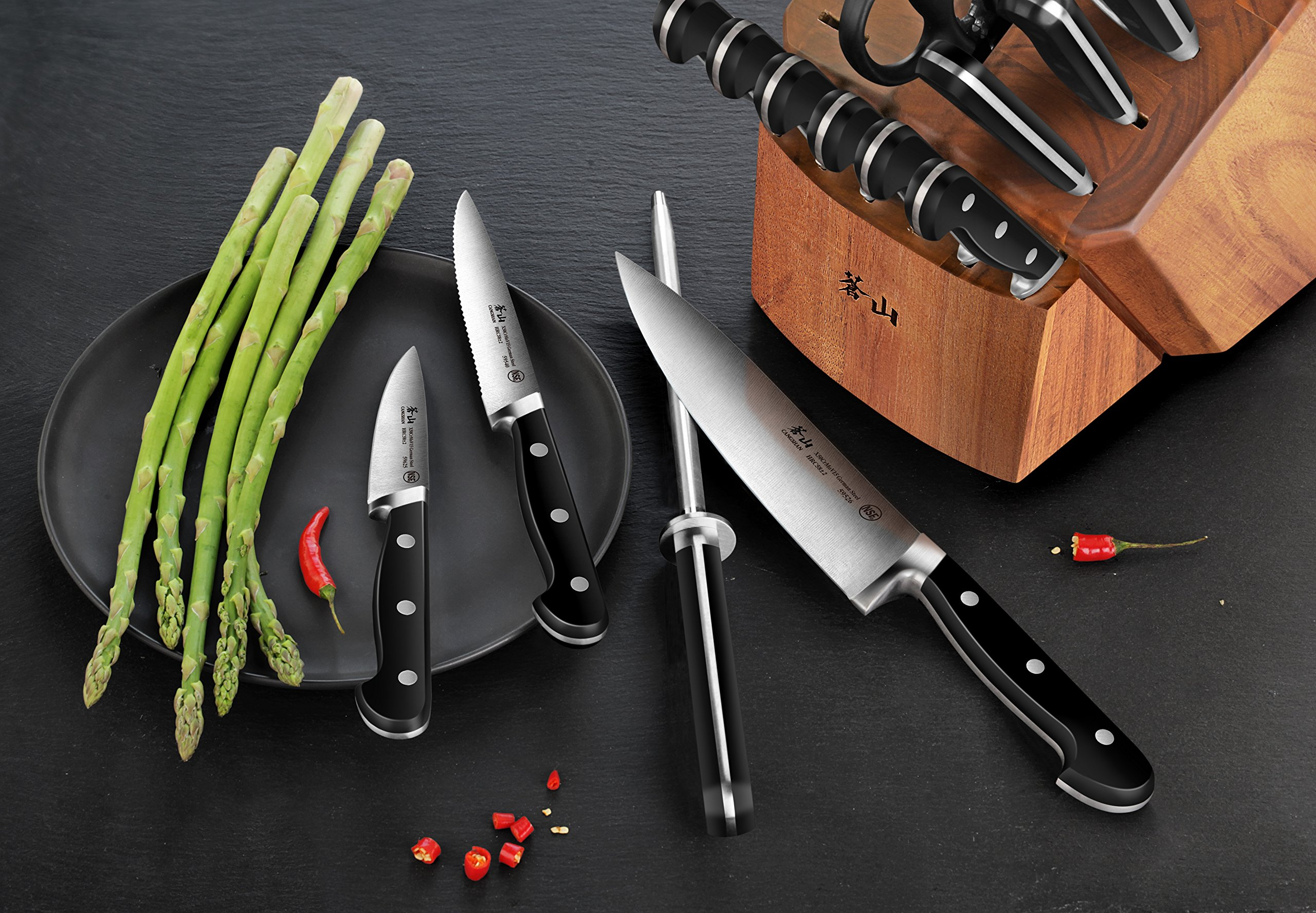 Cangshan V2 Series 1022551 German Steel Forged 17-Piece Knife Block Set , Acacia by Cangshan (Image #4)