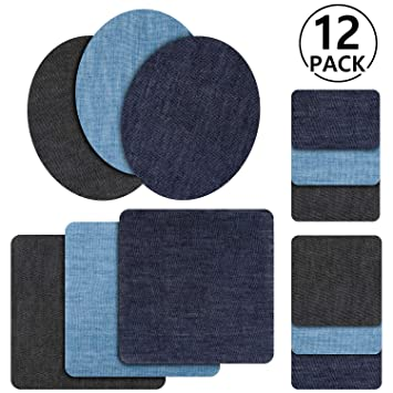 a3515a4a4a Toppe termoadesive jeans, Rymall 12pcs 6 Colori Denim Ferro-on Turno Patch  Fai Artigianato Jeans Vestiti Patch Riparazione Kit Accessorio