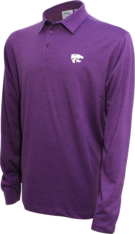 Men/'s Kansas State Wildcats Short SLeeve Purple White Stripe Polo Shirt