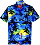 La Leela Men's Aloha Hawaiian Shirt Short Sleeve Button Down Casual Beach Party Blue