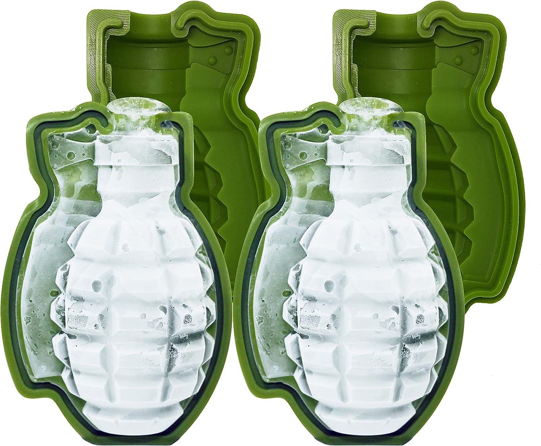 skaxi Granada de 3d molde de silicona, monster-sized cubo de hielo, juego de 2