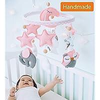 Baby Music Mobile for Girl Felt Nursery Crib Mobile Handmade Baby Shower Gift Crib ARM is Included (Pink Gray)