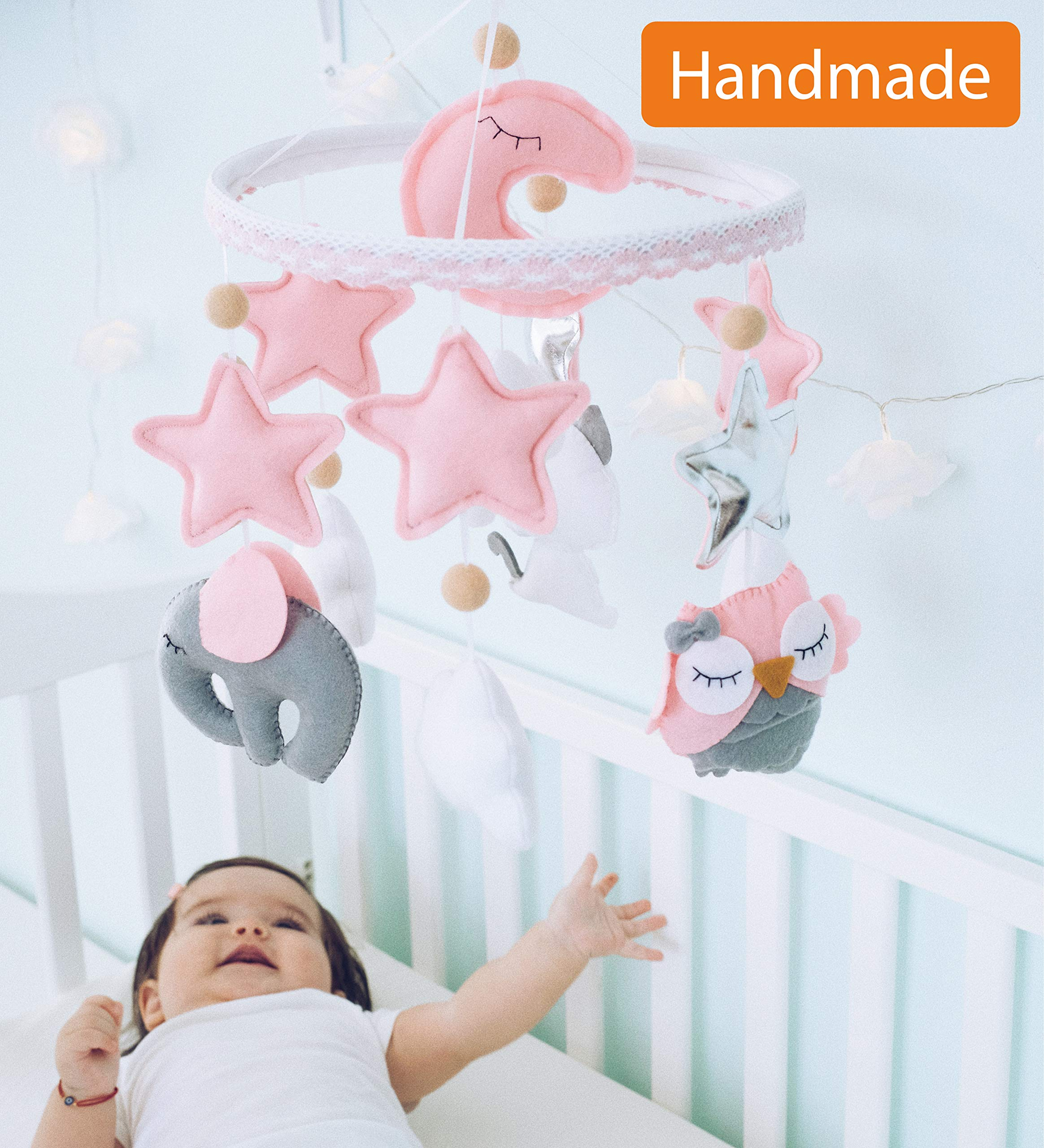 Baby Mobile Felt Nursery Crib Mobile Handmade Baby Shower Gift for Girl (Pink Gray)