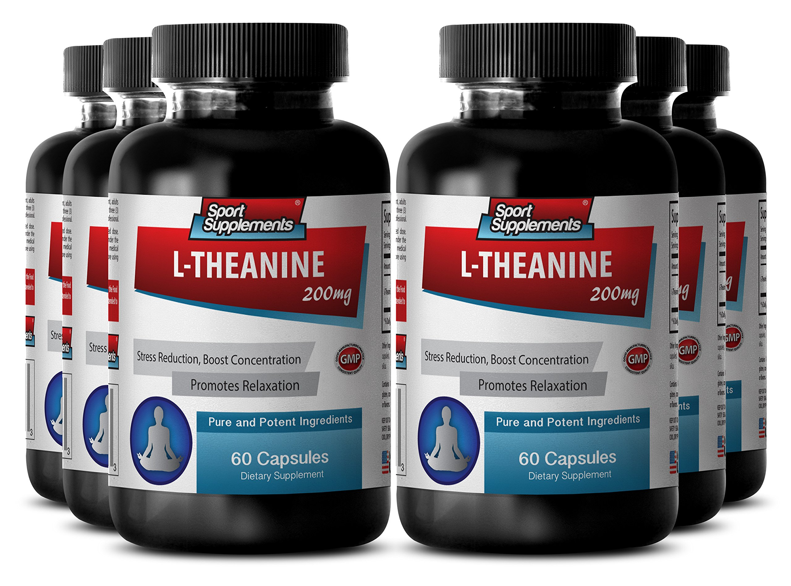 Theanine and lemon balm - L Theanine 200mg - Eliminates anxiety (6 Bottles - 360 Capsules)