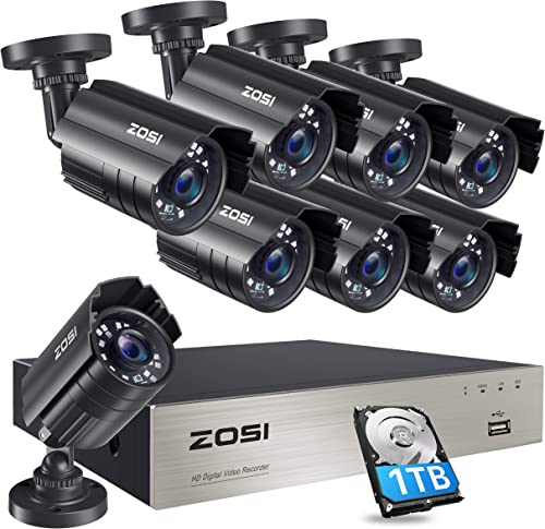 ZOSI 8CH Security Cameras System with Hard Drive 1TB,5MP Lite H.265 8Channel CCTV DVR Recorder with 8pcs 1080P HD Indoor Outdoor 1920TVL Surveillance Cameras with Night Vision for 24 7 Recording