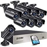 ZOSI 8CH Security Cameras System with Hard Drive 1TB,5MP Lite H.265+ 8Channel CCTV DVR Recorder with 8pcs 1080P HD…