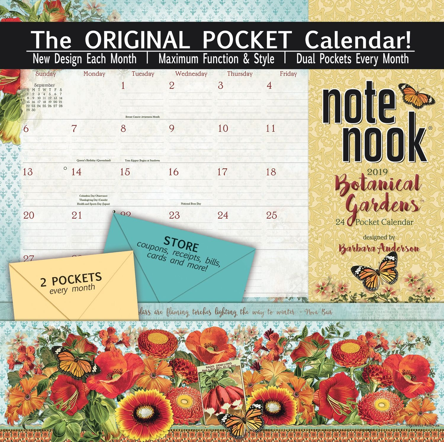 Wells St. by LANG - 2019 Note Nook Organizational Wall Calendar -Botanical Gardens,  Artwork by Barb Anderson - 24 Storage Pockets - 12 Months - 11 3/4 x 13 1/4 Inches The LANG Companies 19997007193