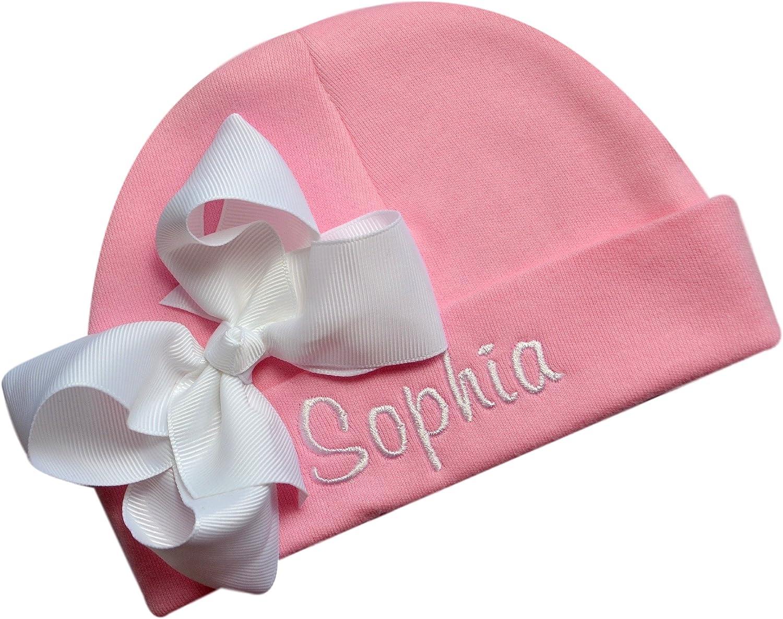 PERSONALIZED MONOGRAM CUSTOM One Piece Pink Heart Bodysuit Beanie Cap Hat