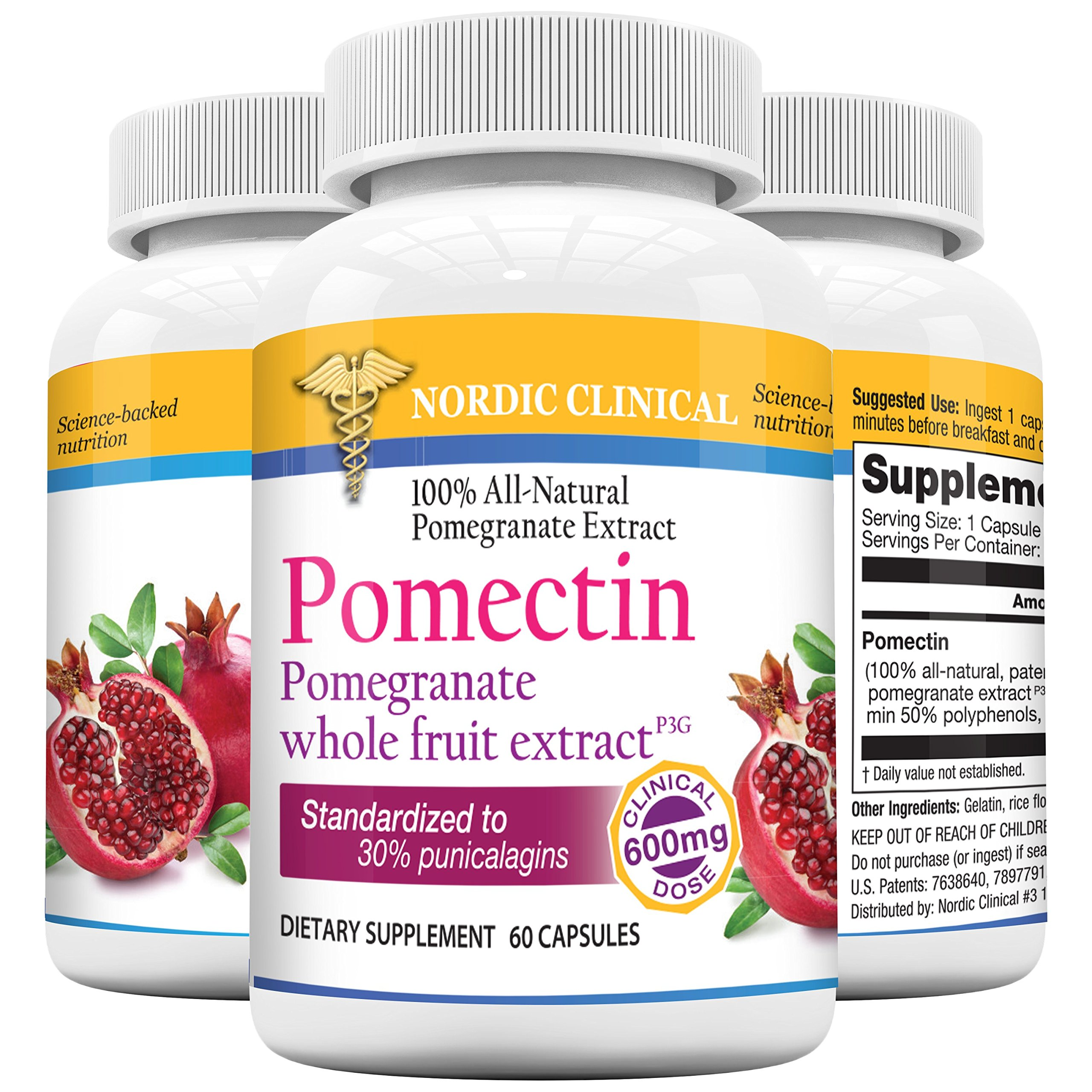 Nordic Clinical's Pomectin - Pomegranate whole fruit extract 600mg dose - Powerful antioxidant - 60 Softgels
