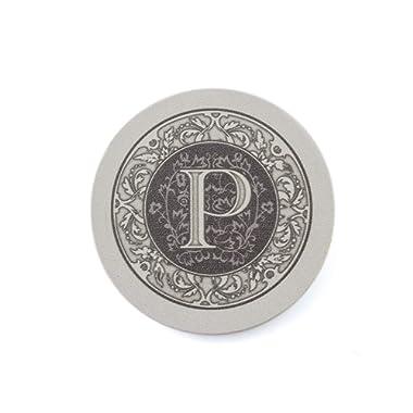 Thirstystone Absorbent Monogram Sandstone Coaster Set, Letter P,